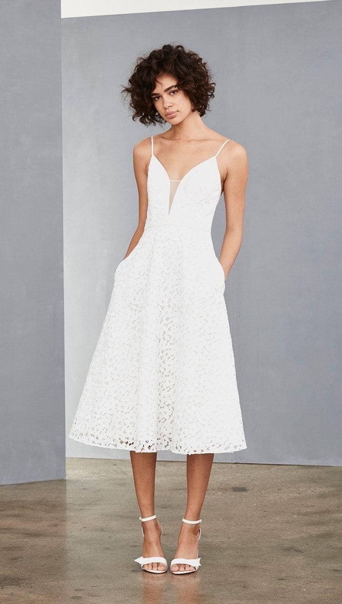 New Little White Dresses From Amsale Dress For The Wedding Necklines For Dresses Little White Dresses White Dress [ 1236 x 700 Pixel ]