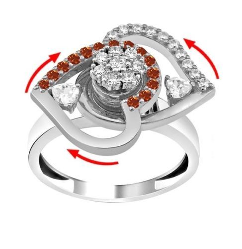 Valentine's day DANCING TWIN HEART RING spinning spinner rotating turn