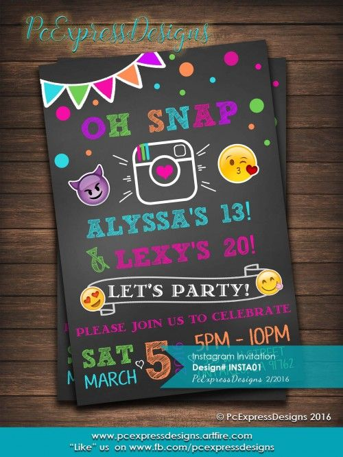 Instagram emoji invitation is customized to either 4x6 or 5x7 High Resolution Digital File (Jpeg). Which you can print yourself or upload it to your favorite photo center (Costco, Wal-Mart, Walgreens, etc.) as ma