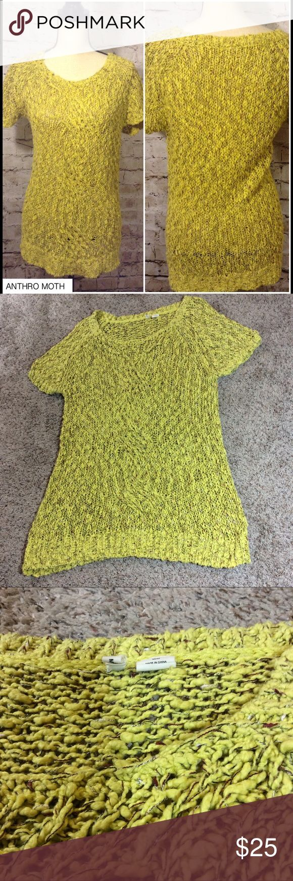 "Anthropologie moth chunky knit sweater Moth for anthropologie chunky knit sweater   Yellow   Size medium   Short sleeve   Approx measurements laying flat:  Pit to pit 19""  Top of shoulder to bottom hem 29""   Gently used Anthropologie Sweaters"