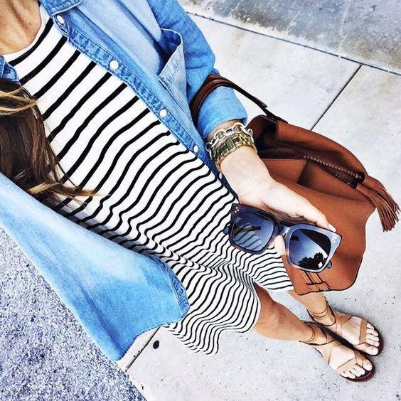 Striped dress + Chambray top