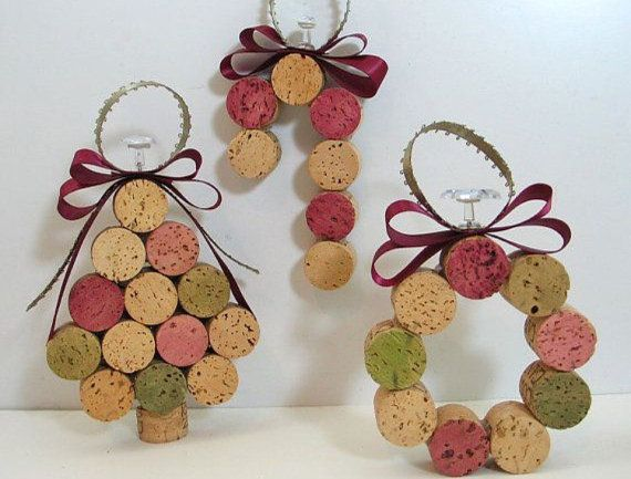 Christmas Tree Ornaments Set of 3 made with Wine by ChileBound