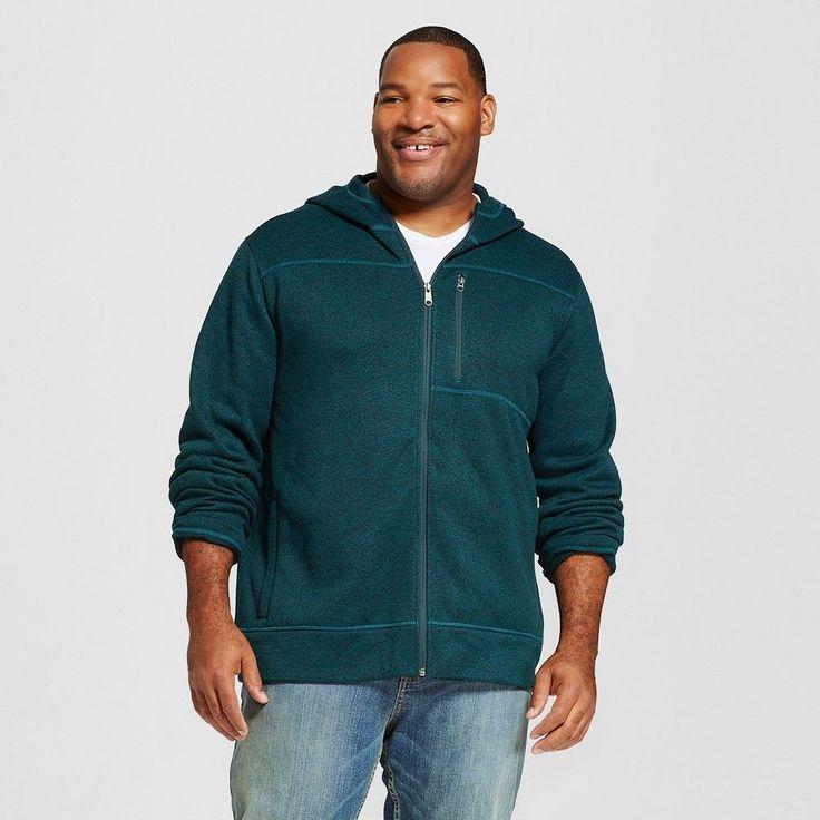 Men's Big & Tall Sweater Fleece Hoodie Teal (Blue) Xxl Tall - Merona, Size: XL Tall