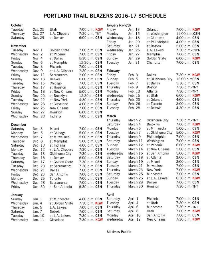 Blazers TV Schedule Released Tv schedule, Portland