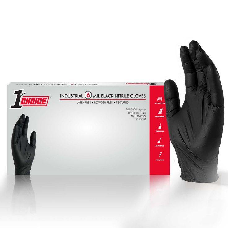1st Choice Premium Black Nitrile Mechanic Powder Free 6 Mil Disposable Gloves 100 Count Large 1pbnlbx Disposable Gloves Gloves Leather Gloves