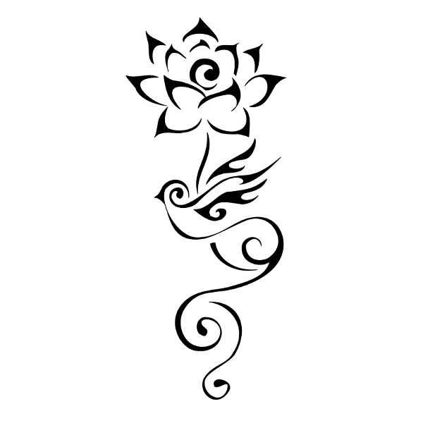 Swallow and lotus flower Buddhist