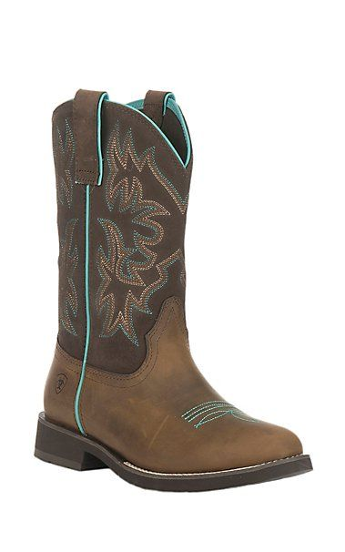 Ariat Women's Delilah Distressed Brown with Fudge Round Toe Western Boots | Cavender's