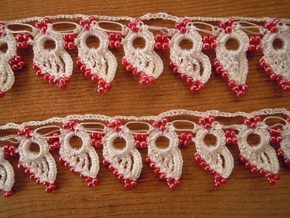 Pink White Beaded Trim Handmade Crochet Trim Turkish Oya Netten