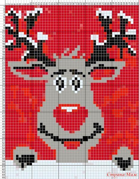 Rudolph Christmas perler bead pattern
