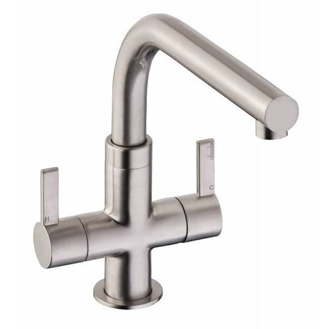 Abode Esteem Brushed Steel Twin Lever Kitchen Sink Mixer tap AT1252 - Abode from TAPS UK
