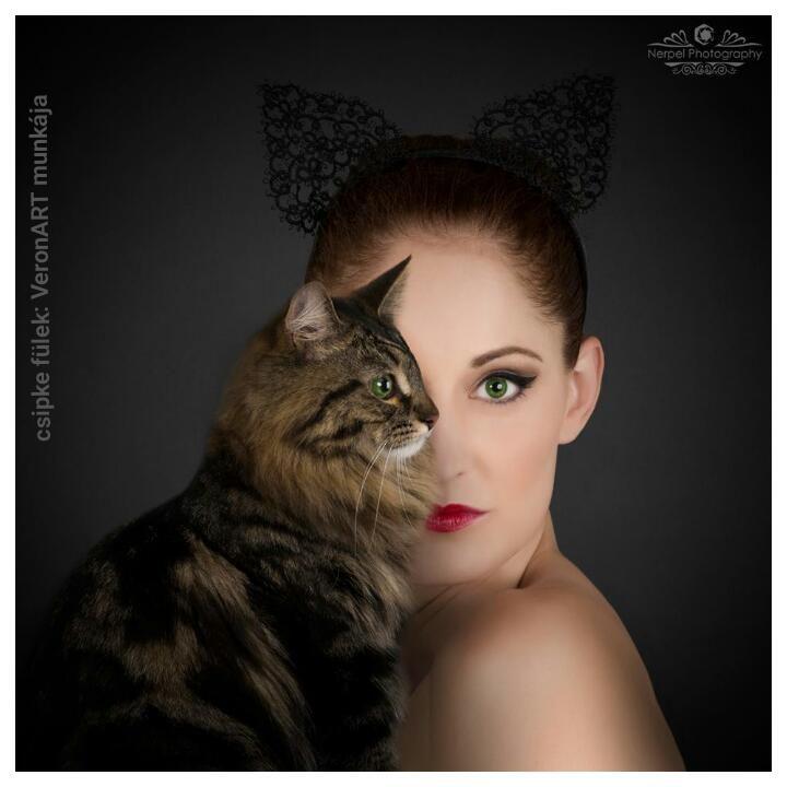 VERONART tatting - hajócsipke - frivolitás - cat ears headband,