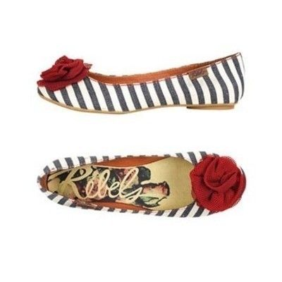 love the flower on these striped flats