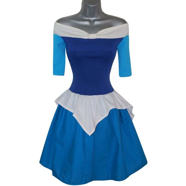Adult Princess Aurora Sleeping Beauty Blue Fancy Dress Costume (UK 10)... ($67) ❤ liked on Polyvore featuring costumes, womens halloween costumes, cosplay costumes, role play costumes, adult sleeping beauty and adult halloween costumes