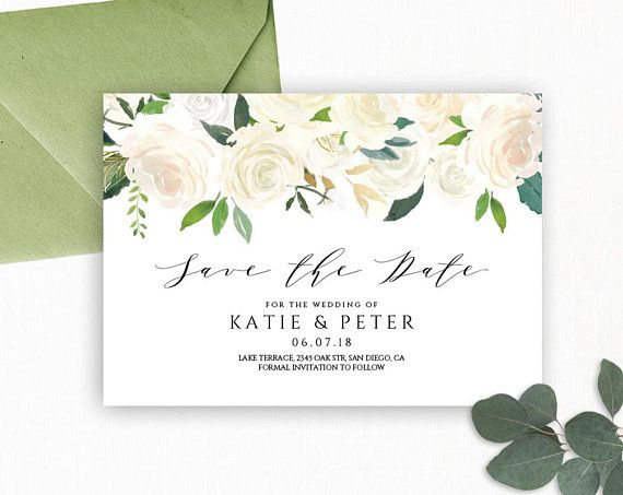 Floral Wedding party scratch card save the dates invites