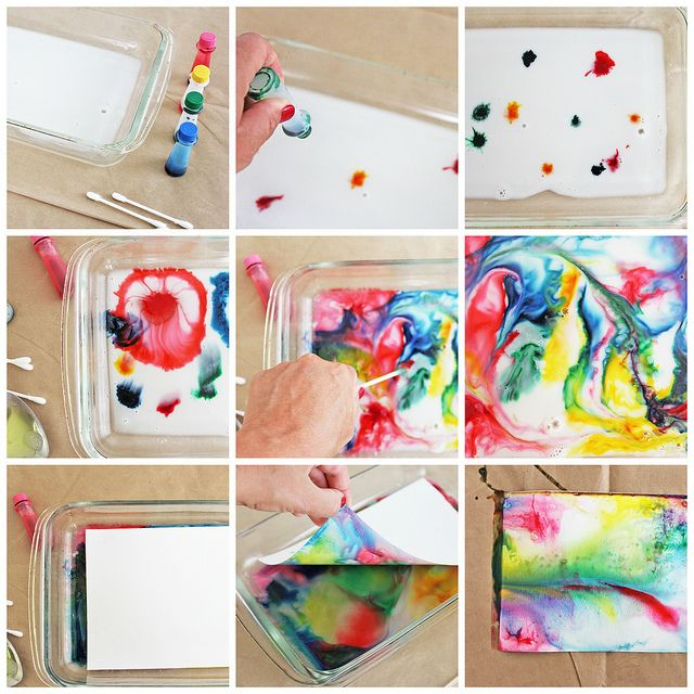 Science and Art for Kids: Marbled Milk Paper  (babbledabbledo)