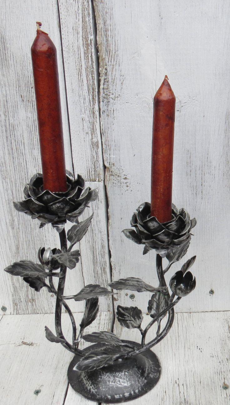 Black rose holders, vintage candle holders, set of 2 candle holders, Gothic candle holders, painted candle holder, black metal rose candles by ChippedPaints on Etsy