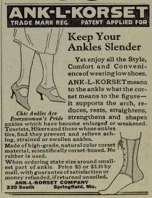 "An ankle corset from 1922. Who knew? a cure for ""kankles"" way"