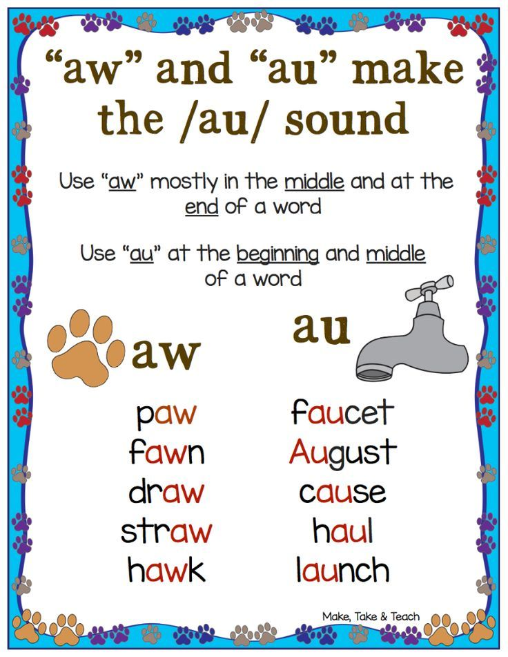 FREE au/aw anchor chart and 11 interactive activities for teaching the au/aw spelling pattern!