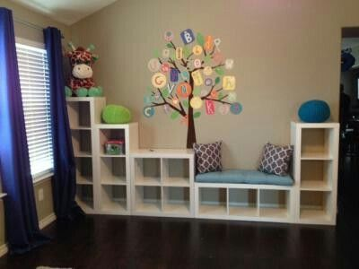 Organizing cubes from Walmart to make an adorable playroom