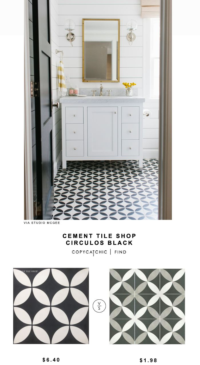 Cement Tile Shop Circulos Black Tile shiplap mirror cement tile white and black