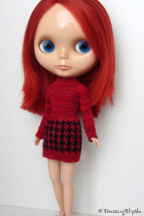 Hand gebreide Mod jurk Multi rood van DressingBlythe op Etsy