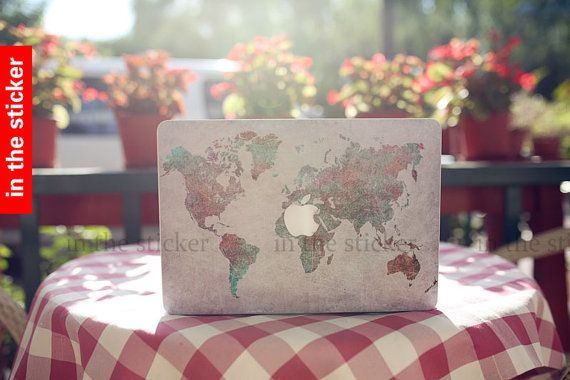 The world map macbook decal, Air or Ipad Stickers Macbook Decals Apple Decal for Macbook Pro / mac cover