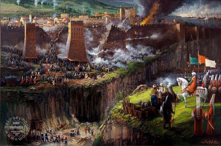 Muhammad al-Fatih face aux tours lors de la prise de Constantinole. Le 18 mai, les Ottomans ont recours à une tour de siège dans le secteur du Mesoteichion. Ce nouveau stratagème impressionne grandement les assiégés. En effet, cette tour permet aux Turcs de combler le fossé précédant les remparts sans pertes tandis que les projectiles tirés du haut de celle-ci permettent d'abattre une tour byzantine proche de la porte Saint-Romain112. Après avoir comblé le fossé, les Turcs s'apprêtent à…