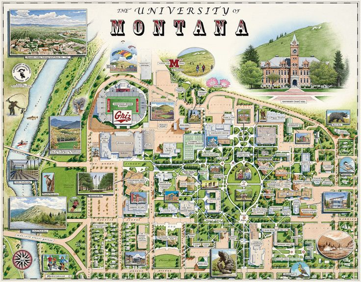 MUST GET THIS! University of Montana Campus Map by Xplorer Maps
