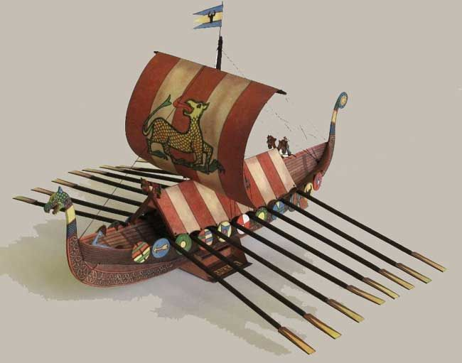 This paper model is a Viking Drakkar (Drekar) Longship, created by АВС, and the scale is in 1:100. You can download the papercraft model here: Viking Drakk