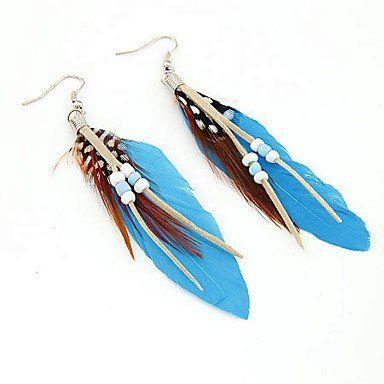 Druppel oorbellen met kralen en blauwe kleur veren