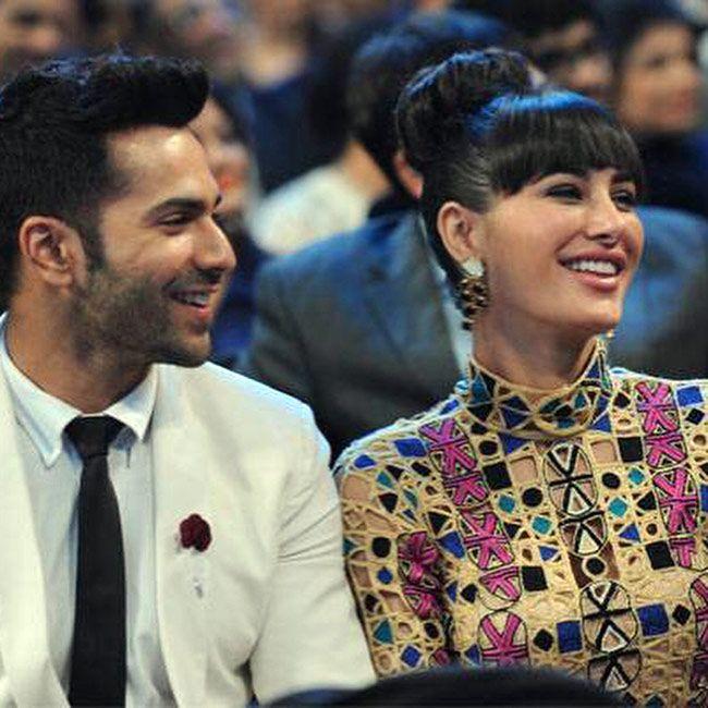 Nargis Fakhri and Varun Dhawan at the 60th Filmfare Awards 2014. #Bollywood #Fashion #Style #Beauty #Handsome