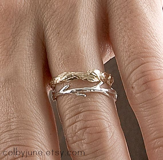 Gold Leaf and Silver Twig Set | Stacking Rings | Nature Inspired Rings