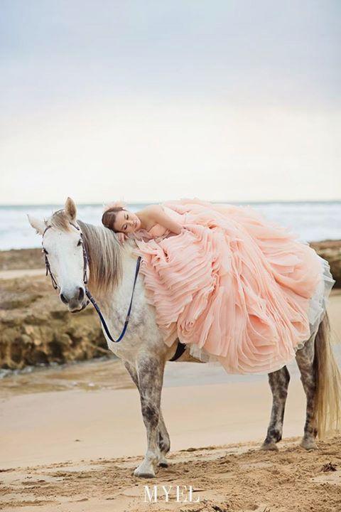 peach ruffles wedding dress
