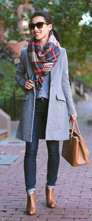 blancket scarf, grey coat, skinny jeans, taba booties and handbag