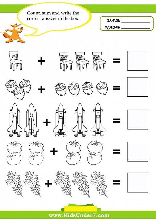 Math Pages To Print | tuub resimleri, Okul öncesi matematik etkinlikleri : Toplama ...