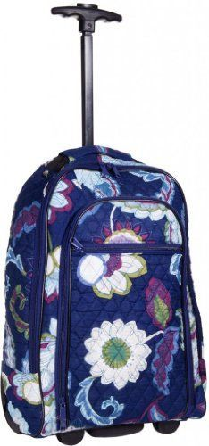 Attractive Blue Floral-designed Quilted Rolling Backpack with Retractable Push-button Handle ~ 100% Cotton Zippered Travel Bag with Adjustable Shoulder Straps and Easy Rolling Wheels- Click image twice for more info - See a larger selection of blue backpacks at http://kidsbackpackstore.com/product-category/red-backpacks/. - kids, juniors, back to school, kids fashion ideas, teens fashion ideas, school supplies, backpack, bag , teenagers girls , gift ideas, blue