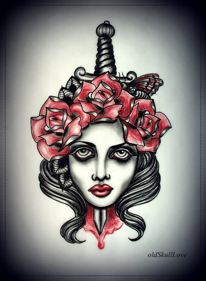 Amazing Dagger Piercing Lady Tattoo Design