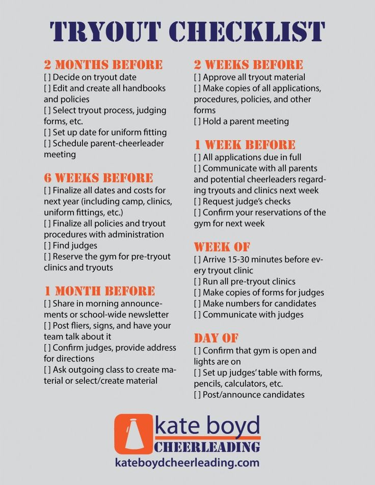The Coach's Cheerleading Tryout Checklist - Kate Boyd Cheerleading