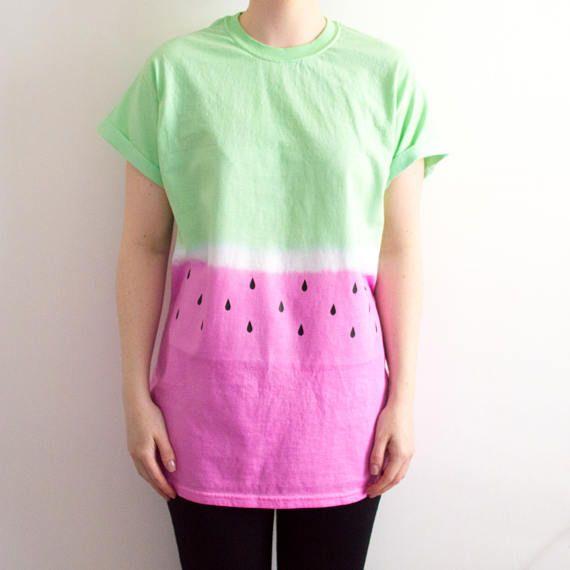 Tie Dye T-shirt Watermelon Print Pastel Grunge Hipster