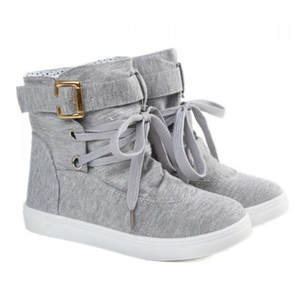 Fashion Buckle and Lace-Up Design Women's Boots, GRAY, 38 in Boots | DressLily.com