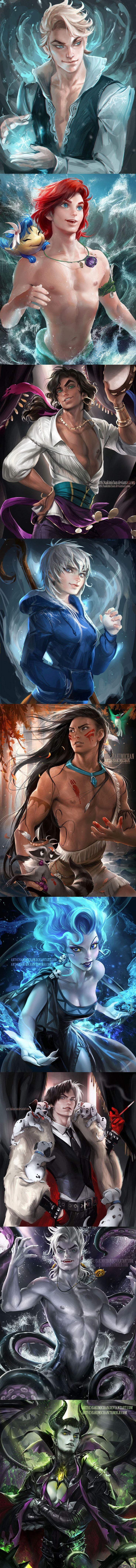 Genderbent Characters by sakimichan on deviantart.com