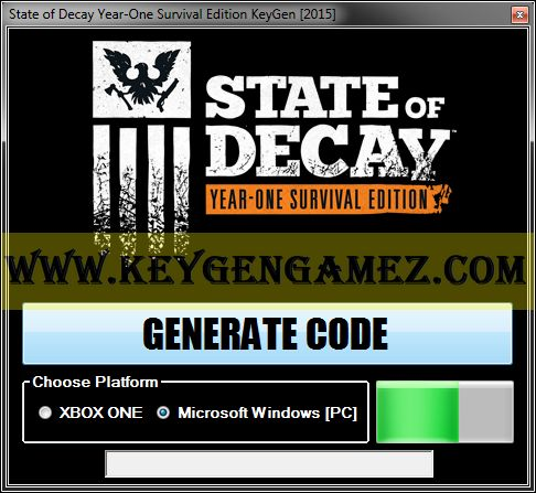 Are you looking for State of Decay Year-One Survival Edition KeyGen? If the answer is YES, you're a lucky person because you're on a good place. On this article you will find out how to generate license keys for free using State of Decay Year-One Survival Edition KeyGen for State of Decay Year-One Survival Edition video game.