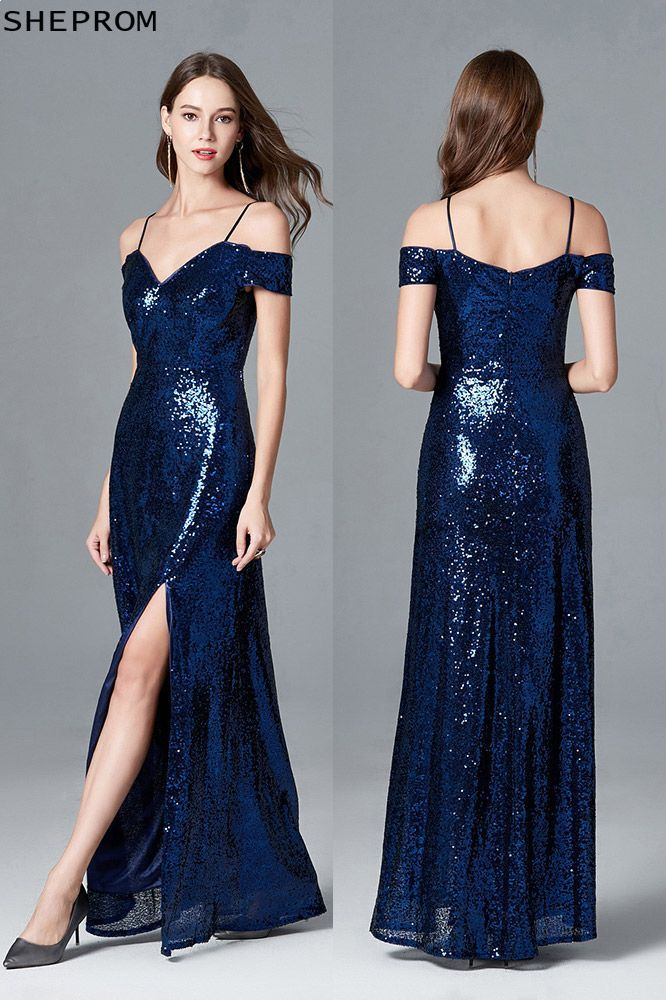 90e2e16ab8bd Sparkly Sequined Slit Navy Blue Evening Dress With Off Shoulder ...