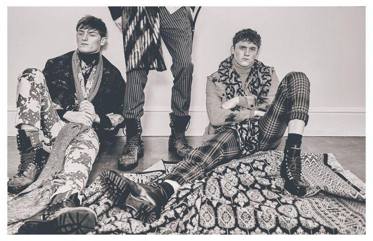 Alex wears Jacket / Trussardi Jumper / Margaret Howell Shirt / Issey Miyake Men Trousers / KTZ Shoes / Kenzo Scarf / Cerruti 1881 Sven wears Jacket & boots / Kenzo Shirt / Brioni Jumper / Belstaff Trousers / rag & bone Scarf / Vivienne Westwood MAN Anders wears Jacket/ Kenzo Polo neck / Stone Island Trousers & scarf / Vivienne Westwood MAN Shoes / DSquared²