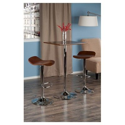 3 Piece Kallie Bar Height Pub Table Set with Air Lift Adjustable Stools Wood Seat/Cappuccino Bright Chrome - Winsome, Dark Cappuccino