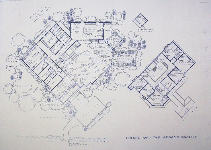 Wonderful 24 x 36 blueprint of the Addams Family House. Made the old-fashioned way - with ammonia activated paper on a Diazit blueprint machine.