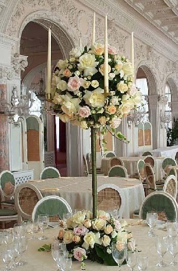 stunning candelabra flower arrangement