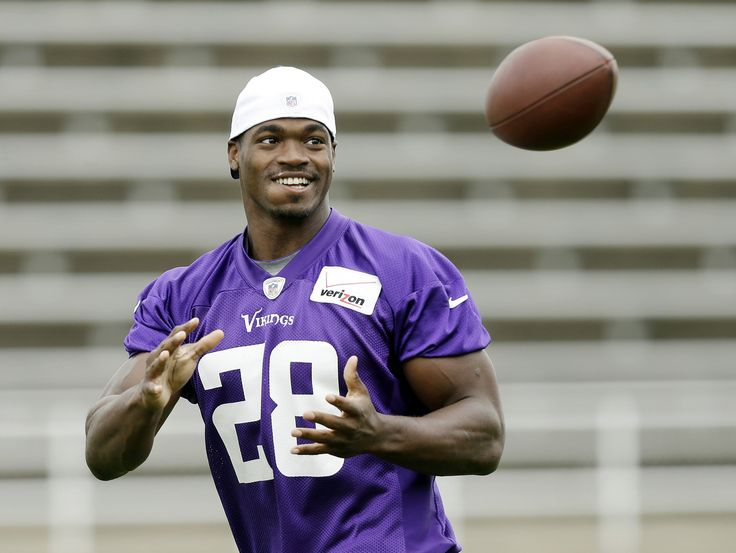 Minnesota Vikings running back Adrian Peterson catches the ball during NFL football training camp, Friday, July 26, 2013, in Mankato, Minn. ...