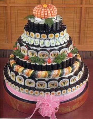 I hate the pink bow, but I would love to have sushi at our wedding. Since we had sushi at our first real date, when we got engaged, and it's our favorite food.