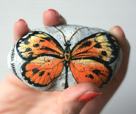 Stone with a hand-painted Tithorea harmonia butterfly by SkadiaArt